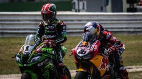 Jonathan Rea, Kawasaki Racing Team WorldSBK, Jake Gagne, Red Bull Honda World Superbike Team, Misano FP2