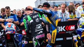 Lucas Mahias, Kawasaki Puccetti Racing, Federico Caricasulo, BARDAHL Evan Bros. WorldSSP Team, Donington RACE