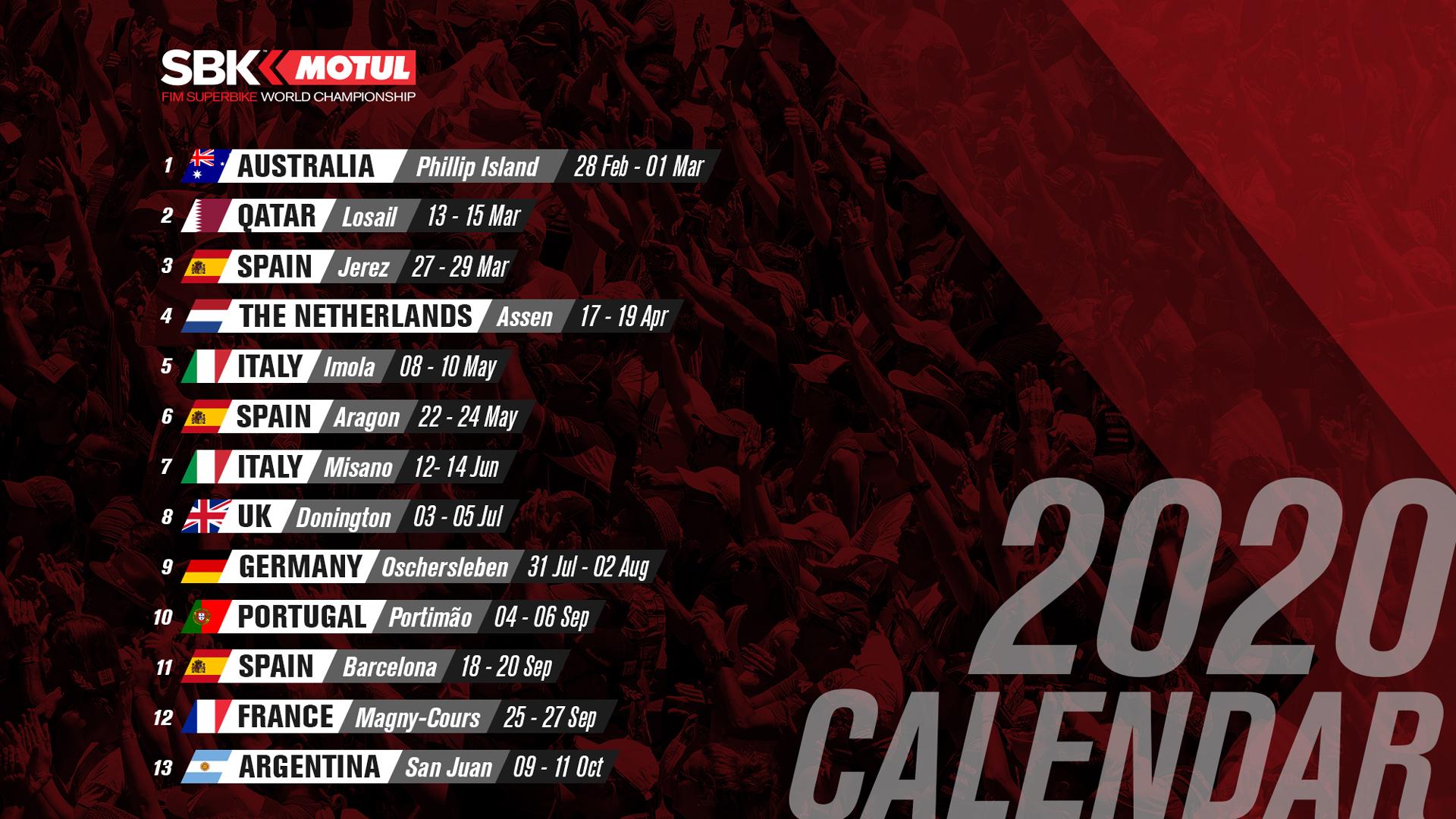 SBK | Pubblicato il calendario 2020 1