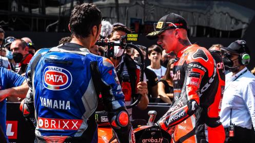 Toprak Razgatlioglu, Pata Yamaha with BRIXX WorldSBK, Scott Redding, Aruba.it Racing - Ducati, Most RACE 1