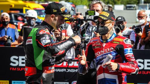 Jonathan Rea, Kawasaki Racing Team WorldSBK, Alvaro Bautista, Team HRC, Catalunya Tissot Superpole RACE
